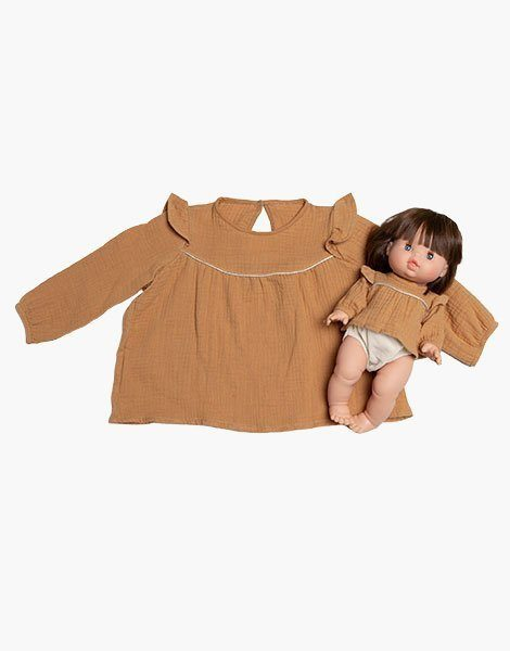 "Collection Duo – Blouse ""MARINA"" en coton double gaze Camel"
